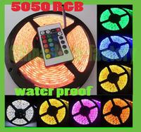 Free ship 5050 60 LED 5M DC 12V 55W Waterproof RGB Strip Light + RGB Control Box + 24 Key IR Controller