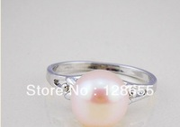 Natural freshwater pearl ring simple fashion exquisite copper ring    Free Shipping