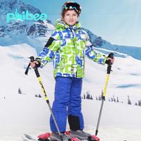Free shipping new 2014 winter boys ski suit windproof waterproof  jackets + pants winter clothing set skiing hiking snowbord