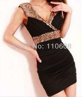 Milk Silk Sexy Low-Cut Gold Sequin V Neck Sleeveless Close-Fitting Vest Club Party Evening Mini Dress Cloth Skirt 1PCS #AJ151
