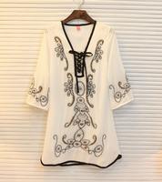 Summer women's national ethnic ink vintage leptonema embroidered beading lace up flare sleeve chiffon one-piece dress