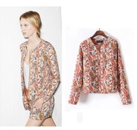 2013 autumn women's fashion floral pattern printed cotton zipper jacket Vintage flower short Za style small Coat Free Shipping