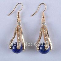 Lapis Lazuli Beads Dangle Earrings Jewelry Free Shipping T329