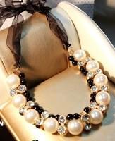 2014 New Vintage Jewelry Pearl Statement Necklace Bib Wedding Dress Bride Bijouterie Big Chunky Necklace Free Shipping