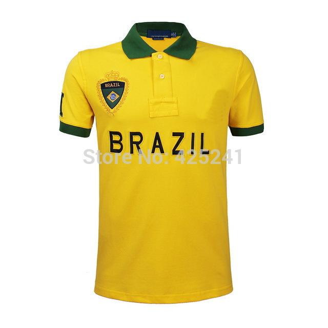 2014 Summer Hot Selling Polo Shirt Brand Tops Tees Brazil USA Spain Flags Short Polos Free shipping Wholesales(China (Mainland))