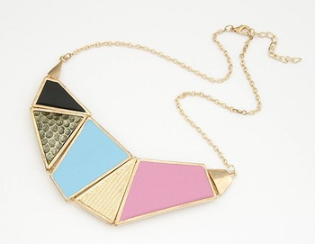 Min.order is $10 (mix order) European and American fashion trend colorful geometric squares short necklace !Free shipping  N1118