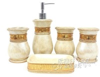 Free shipping antique style resin bathroom 5 pieces set with golden strip soap dish,lotion dispenser,tooth brush holder, tumbler