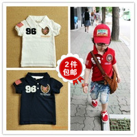 New 2014 boys clothes children t shirt child outerwear badge turn-down collar 100% cotton FREE shipping