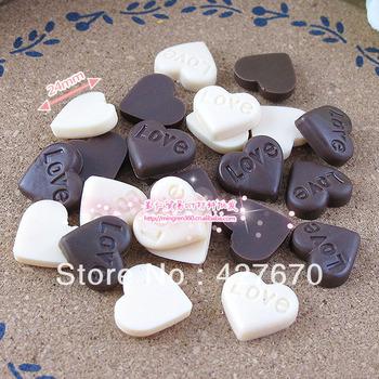 Free shipping flatback resins Clay love heart-shaped chocolates 24mm 10pcs mixed kawaii home decorations christmas ornament
