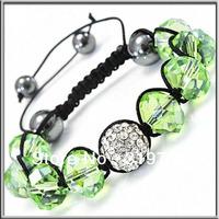 2013New Fashion shamballa bracelet with  green  crystal