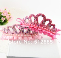 {Min.Order $15} 10pcs/Lot 2014 New Kids/Girl/Princess/Baby Peforate Charming Crown Pearl Stone Ribbon HeadBand/Hair Accessories