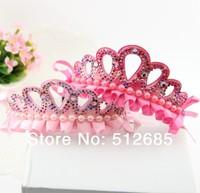 {Min.Order $15} 10pcs/Lot 2014 New Kids/Girl/Princess/Baby Peforate Charming Crown Pearl Stone Ribbon HeadBand/Hair Accessories