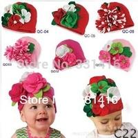 Free shipping 5pcs/lot 2015 New Arrival Baby Girls flower bonnet new born cotton hat infant winter cap kids headgear accessories