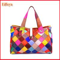 2014 New Fashion OL Handbags Work Woman Bags Sheepskin Patchwork Plaid Rivet Celebrity Bag Hot Sell FLY29
