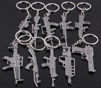 free shipping 10 kinds CF snipe rifle CS game gunblack gun model shaped metal key chain keychain key ring