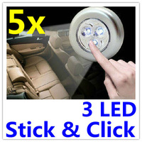 3 LED Lights Stick Click Tap Cordless Touch Push Lamp Battery AAA Powered For Car Free Shipping Cheap price 5pcs