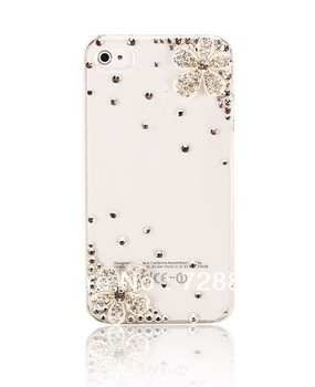 Bling Handmade 3D Flower Diamond Rhinestone Case Cover For iPhone 4 4s iphone 5 5G Free shipping