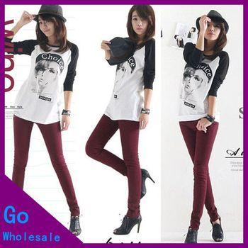 10 Colors 100% Cotton Hight Qualtiy Women Candy Color Pencil Pants Casual Plus Size Elastic Boot Cut Jeans Pants
