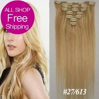 Free 15'' 18'' 20'' 22'' Virgin Remy Hair Clip In Human Hair Extensions Straight 7Pcs Full Head Set Color #27/613