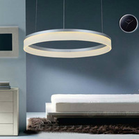 "Circle Modern Ring LED Round Pendant Lighting,Dia.80cm/31.5"" 40 Watt LED,White/Black/Sand Silver pendant lights for dining room"