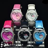 retail Drop shipping 1pcs/lot Hello Kitty watch Crystal Child Watch,Crystal Heart Watch KT writstwatch
