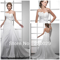 Free Shipping High Quality Low Price Selling Best Marvelous Sweetheart Hand Made Flowers Pleats Summer Wedding Dress B13009