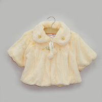 Update Quality!!2013 new children clothing children's Leather grass hairy girls fashion pearl embroidered cape shawl freeship