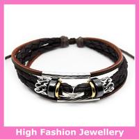 B0315 new arrival fashion handmade jewelry wristband pu leather braid bracelets many styles available accept mix order 12pcs/lot