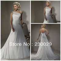 Free Shipping Newest Sexy One Shoulder Scalloped White Chiffon With Beads Sweep Train 2013 Pregnant Wedding Dress GD042