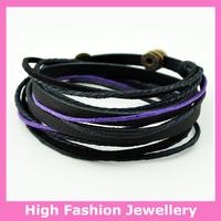 C0334 fashion handmade wrap bracelets,free shipping genuine leather charm tribal jewelry,hot sale multicolor wristband 12pcs/lot