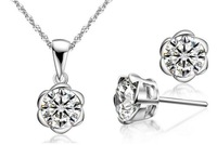925 Sterling Silver Flower Pendant Necklace/Earrings Jewelry Set Whit AAA Swiss Zircon Crystal Necklaces Set Fashion Jewelry
