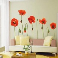 PVC wall stickers wallpaper for bedroom living room TV wall 50x70cm Large Poppy Free shipping