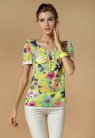 2014 summer cool floral print chiffon blouse short sleeve chiffon shirt women, 4 colors, M/L/XL/XXL