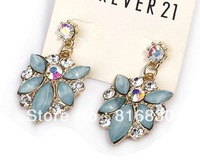 2013 Brand New(Min Order $9.9) Full Blind Rhinestone Flower Water Drop Ear Dangle Eearring Women Design Jewelry Christmas Gift