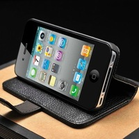 Flip wallet leather case for iphone 4 4G 4S free dhl shipping 50pcs/lot