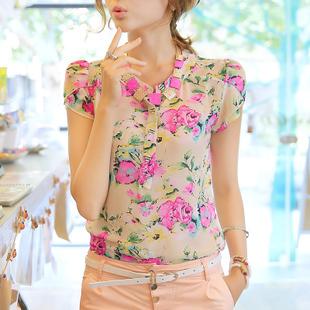 Nice quality 2014 casual women blouse short-sleeve floral print chiffon blouse top, 3 colors, Size M/L/XL/XXL