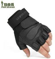 Upgraded version free soldier half finger tactical gloves male summer cs outdoor slip-resistant gloves