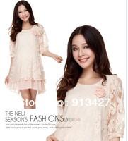 2014 summer/autumn maternity plus size lace dress ladies loose petals lace dress pregnant women fashion lace dress free shipping