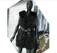 Fast shipping 2013 new  Design  100% nature lades raccoon  fur women`s  vest  Warm winter  black  color size : S M L XL XXL