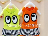 NEW  child 2013 summer models with big eyes striped vest shorts suit , Free postage