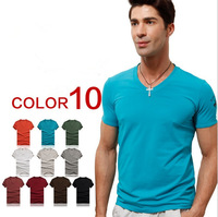 2013 New Arrival Men's Fashion Vneck Slim  Casual Short Sleeve Cotton T Shirt 10 Colors M/L/XL