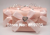 FREE SHIPPING 100pcs/lot Beige Pink  Elegant candy Bag with Crystal Favors box Wedding favor Party candy  box Anniversary gifts