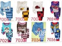 FREE SHIPPING 12sets/ lot 100% cotton  baby wear kids long sleeve pajamas /sleepwear suit t-shirt+pant
