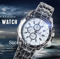 2014 Special promotions wrist watch three eye six needle fashion dress big dial casual fashion steel Electronic watches for men