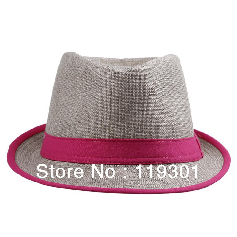 New Summer Beach Red Fedora Trilby Gangster Linen Panama Jazz Mens Womens Unisex Hat Cap DHV1(China (Mainland))