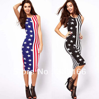 Free Shipping Women American Flag Dress Printing,  Fashion Sleeveless Tank Slim Casual Long Dresses  #JM06664
