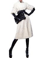 2014 new spring autumn women's long fur coat  vintage elegant noble long fur coat overcoat outerwear white with belt WTP4