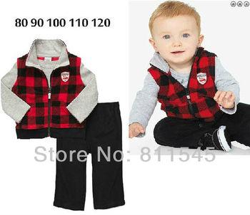 1 Set Retail, 2013 New Autumn Baby Sets Childrens Suit for Boys Set Vest + T Shirts + Pants Toddler Boy Clothing Kids Suits
