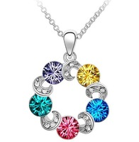 Multicolour Crystal Stone Sweet Ferris Wheel Pendant Chain Necklace,free shipping