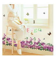 Free Shipping 2013 New Arrival WQ0706-3 Large PVC removable Room Background Decor Skirting Wall Sticker